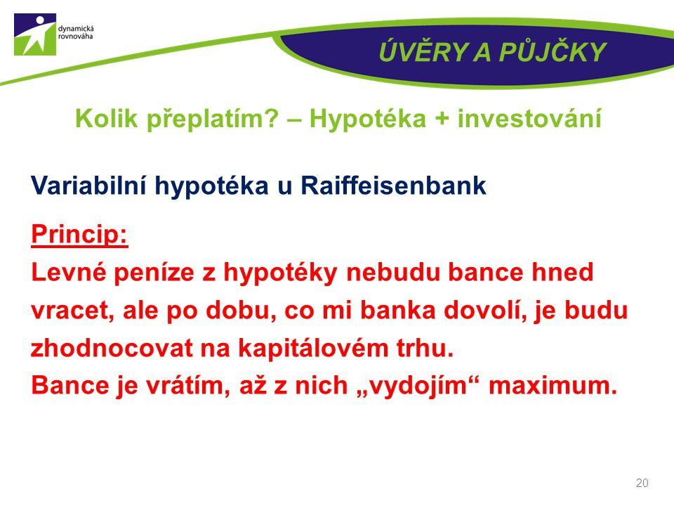 ÚVĚRY A PŮJČKY Variabilní hypotéka u Raiffeisenbank Princip: Levné peníze z hypotéky nebudu bance hned vracet, ale po dobu, co mi banka dovolí, je budu zhodnocovat na kapitálovém trhu.