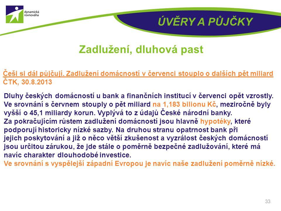 ÚVĚRY A PŮJČKY 33 Zadlužení, dluhová past Češi si dál půjčují.