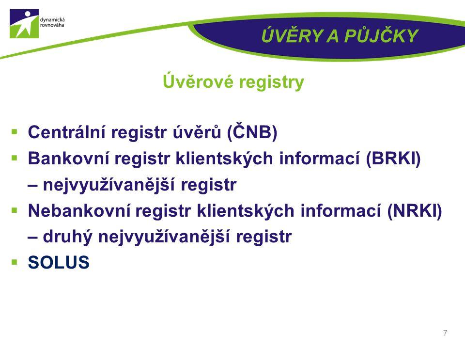 ÚVĚRY A PŮJČKY  Centrální registr úvěrů (ČNB)  Bankovní registr klientských informací (BRKI) – nejvyužívanější registr  Nebankovní registr klientských informací (NRKI) – druhý nejvyužívanější registr  SOLUS 7 Úvěrové registry