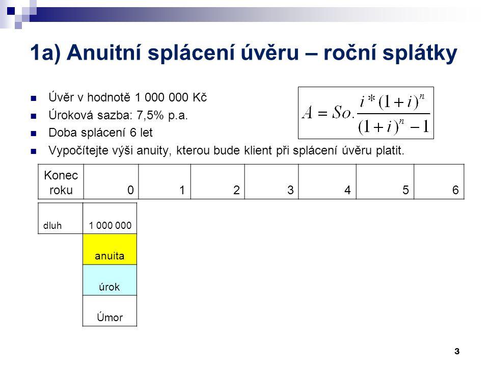 A: Úvěry 1. Anuitní splácení úvěru a) roční b) měsíční 2. Rovnoměrné splácení 3. Překlenovací úvěr 2