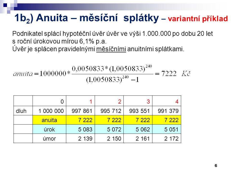 5 Rekapitulace 1a-b) Konec roku123456 Roční splácení anuity Úrok (% z anuity) 35,2030,3425,1119,5013,466,97 Kumulace úroků 75 000139 647193 163234 716