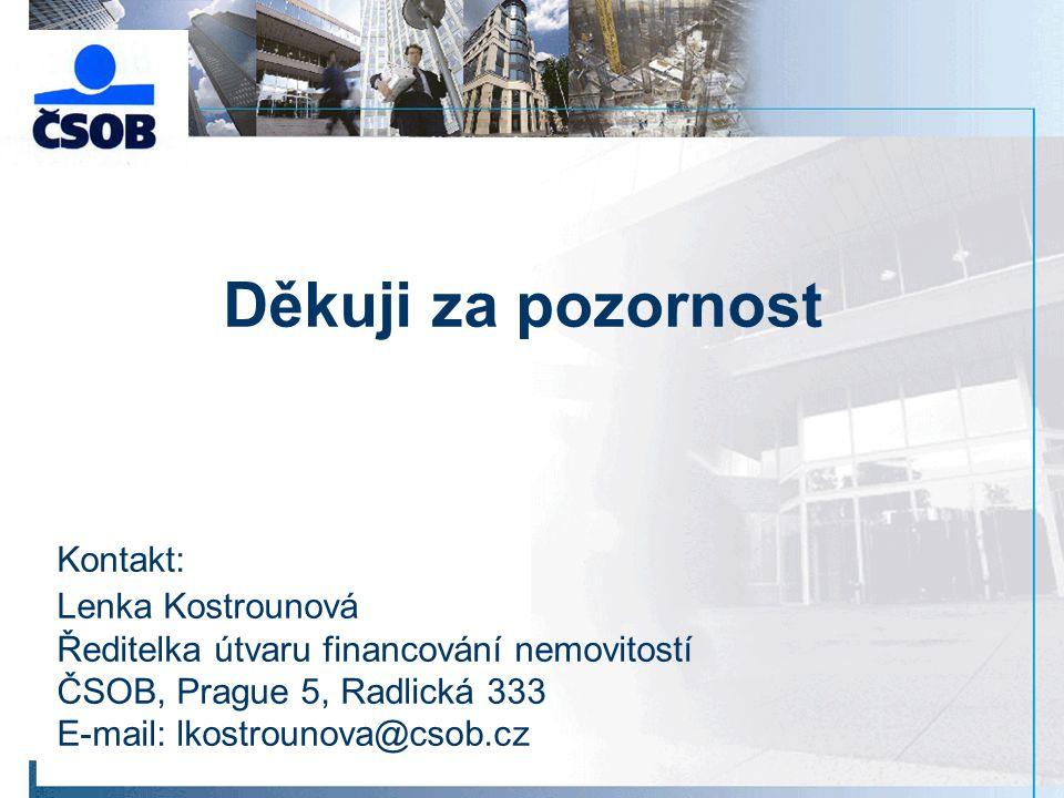 Děkuji za pozornost Kontakt: Lenka Kostrounová Ředitelka útvaru financování nemovitostí ČSOB, Prague 5, Radlická 333 E-mail: lkostrounova@csob.cz