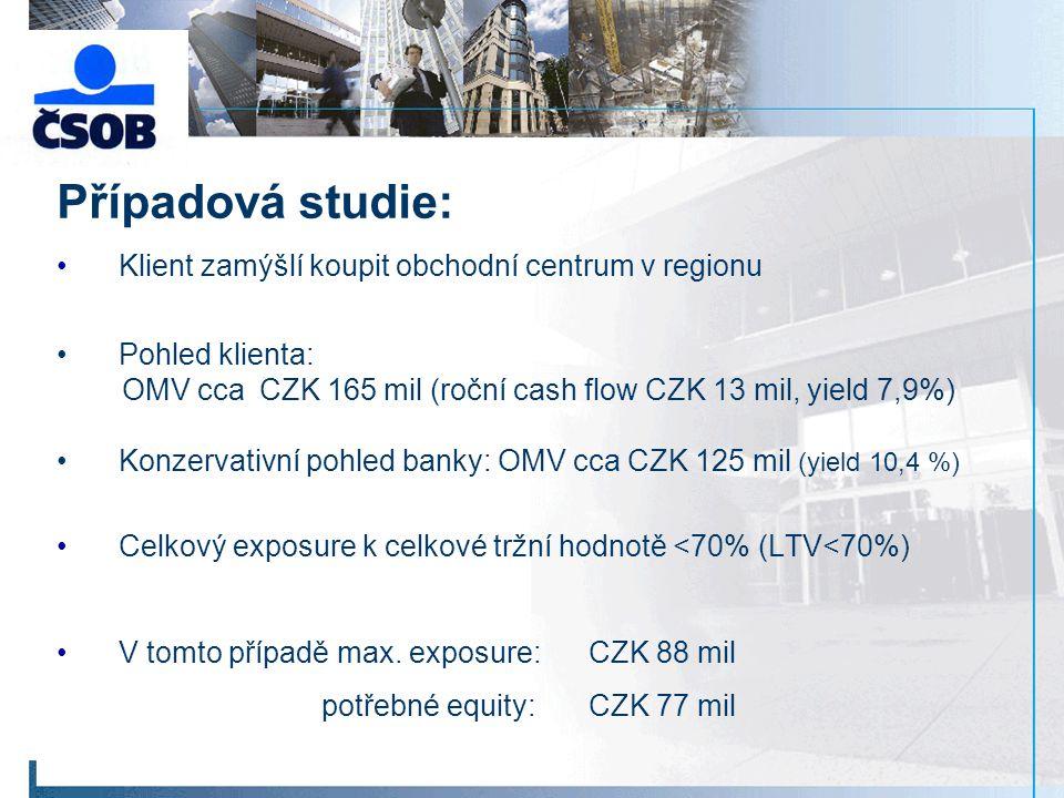 Případová studie: Klient zamýšlí koupit obchodní centrum v regionu Pohled klienta: OMV cca CZK 165 mil (roční cash flow CZK 13 mil, yield 7,9%) Konzervativní pohled banky: OMV cca CZK 125 mil (yield 10,4 %) Celkový exposure k celkové tržní hodnotě <70% (LTV<70%) V tomto případě max.