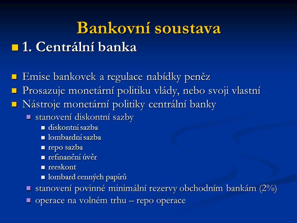 Bankovní soustava 1. Centrální banka 1. Centrální banka Emise bankovek a regulace nabídky peněz Emise bankovek a regulace nabídky peněz Prosazuje mone