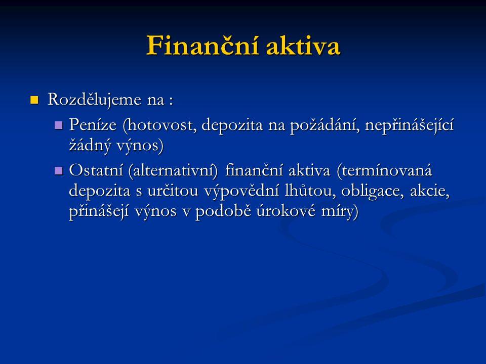 Finanční aktiva Rozdělujeme na : Rozdělujeme na : Peníze (hotovost, depozita na požádání, nepřinášející žádný výnos) Peníze (hotovost, depozita na pož