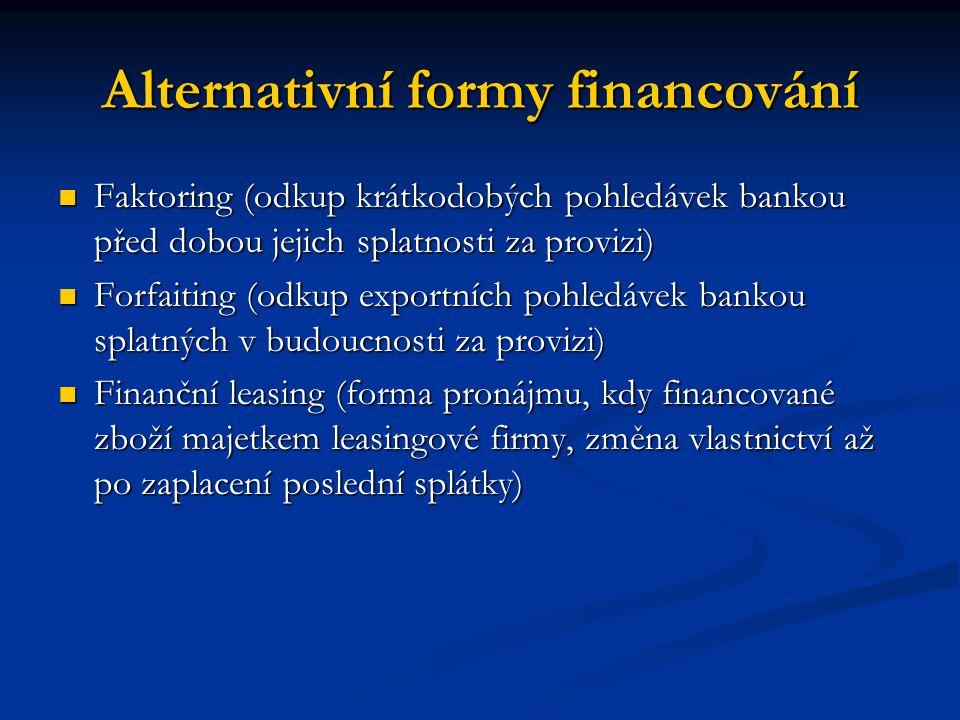 Alternativní formy financování Faktoring (odkup krátkodobých pohledávek bankou před dobou jejich splatnosti za provizi) Faktoring (odkup krátkodobých