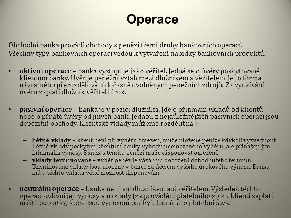 Operace Obchodní banka provádí obchody s penězi třemi druhy bankovních operací.