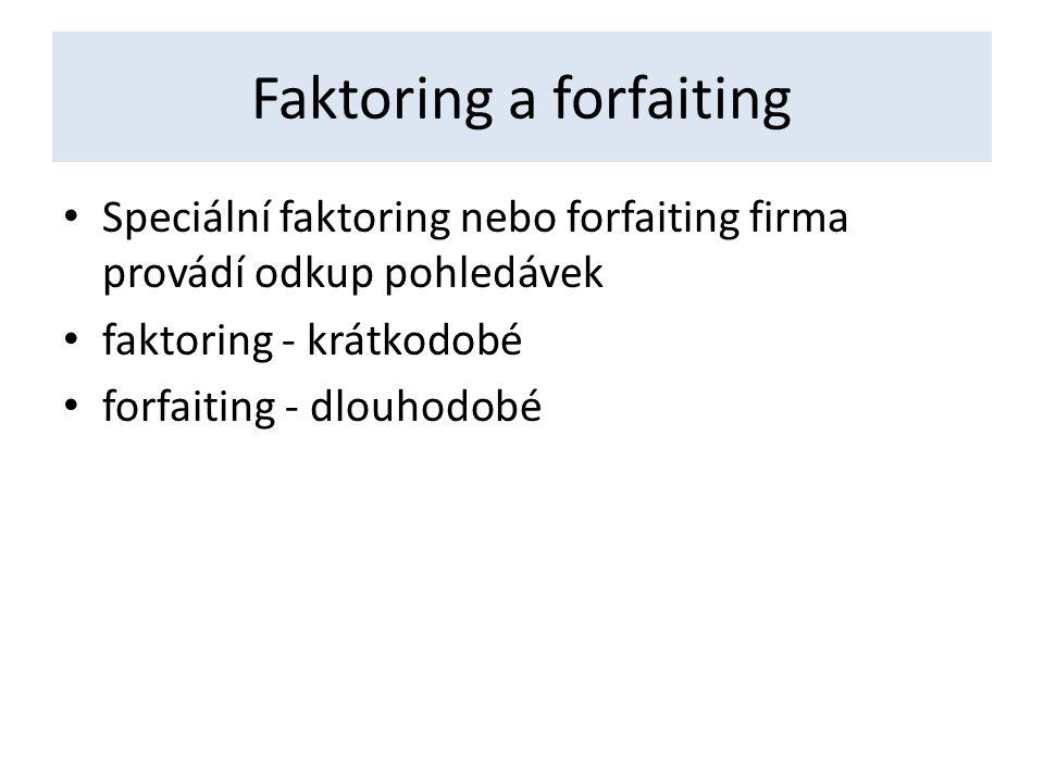 Faktoring a forfaiting Speciální faktoring nebo forfaiting firma provádí odkup pohledávek faktoring - krátkodobé forfaiting - dlouhodobé