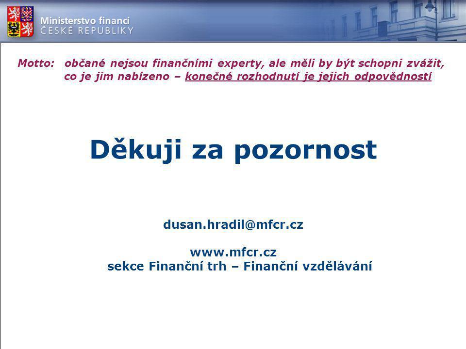 dusan.hradil@mfcr.cz www.mfcr.cz sekce Finanční trh – Finanční vzdělávání Motto: občané nejsou finančními experty, ale měli by být schopni zvážit, co