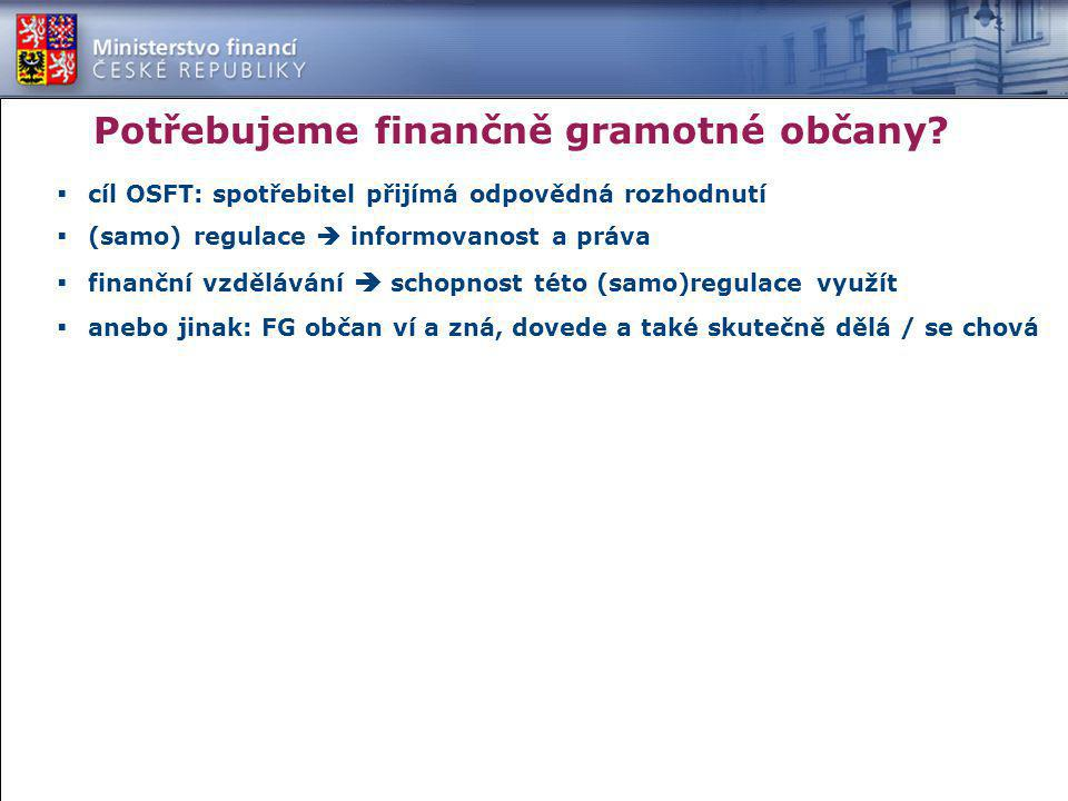 Potřebujeme finančně gramotné občany?  cíl OSFT: spotřebitel přijímá odpovědná rozhodnutí  (samo) regulace  informovanost a práva  finanční vzdělá