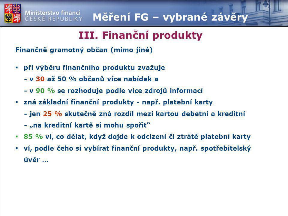 III. Finanční produkty Měření FG – vybrané závěry Finančně gramotný občan (mimo jiné)  při výběru finančního produktu zvažuje - v 30 až 50 % občanů v