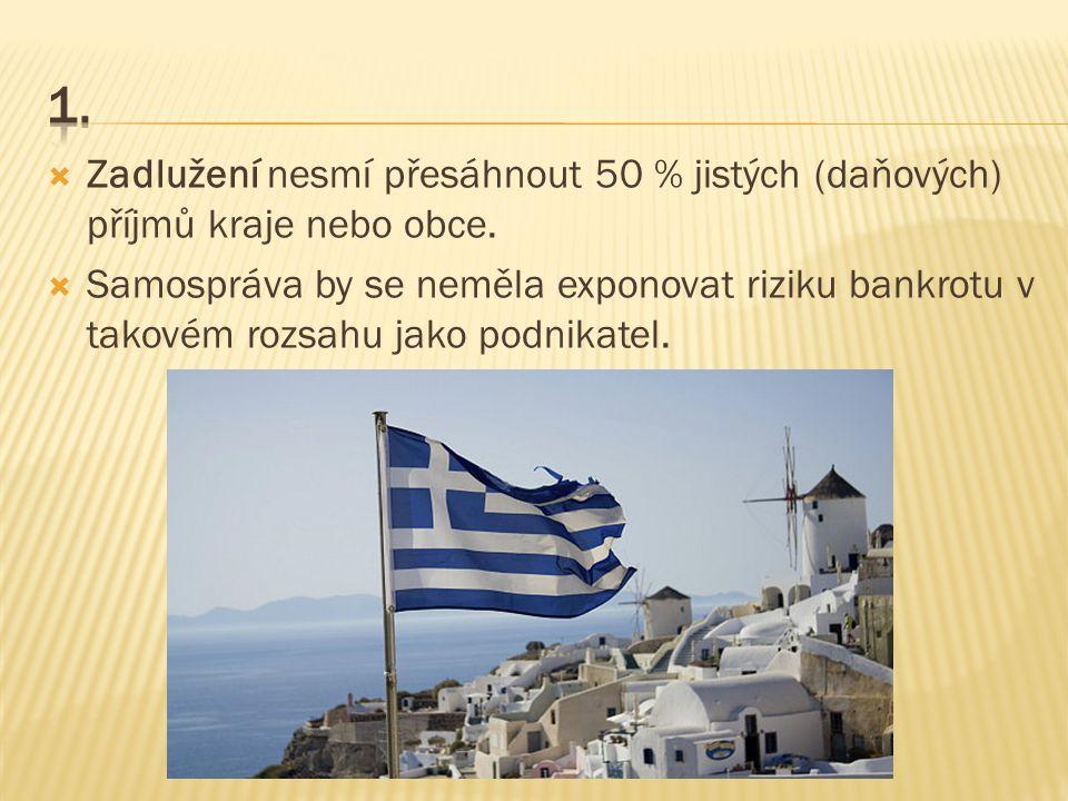 Zadlužení nesmí přesáhnout 50 % jistých (daňových) příjmů kraje nebo obce.