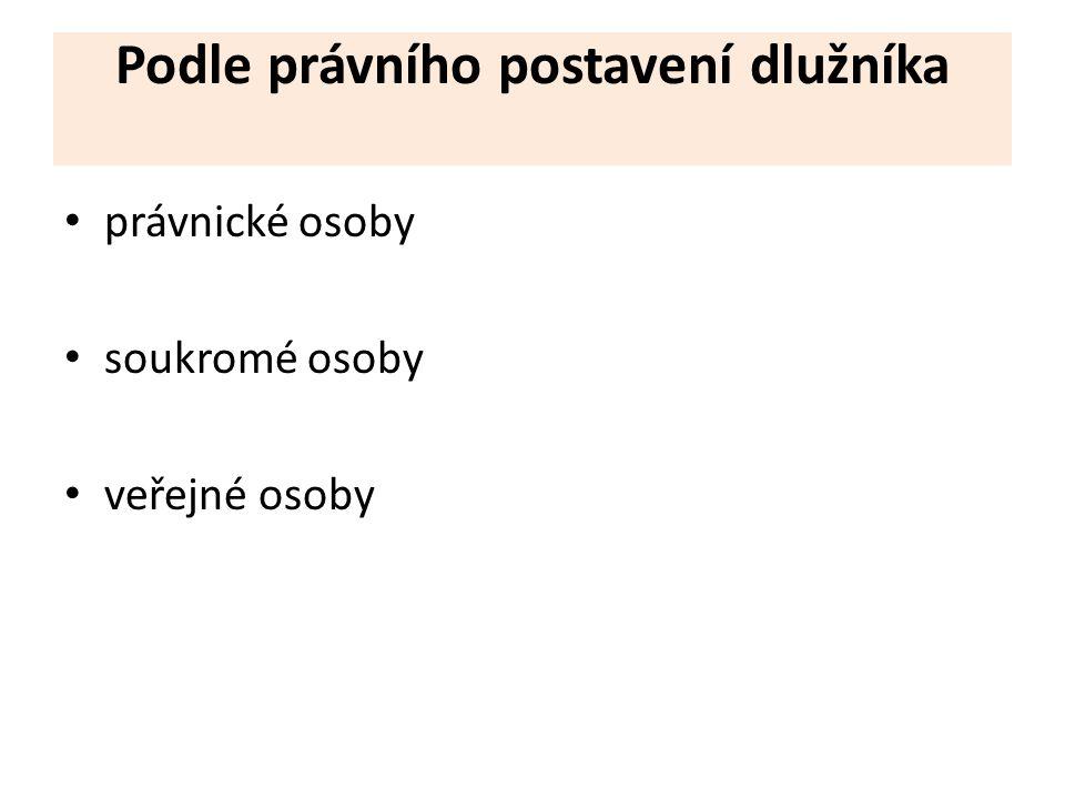 Podle právního postavení dlužníka právnické osoby soukromé osoby veřejné osoby