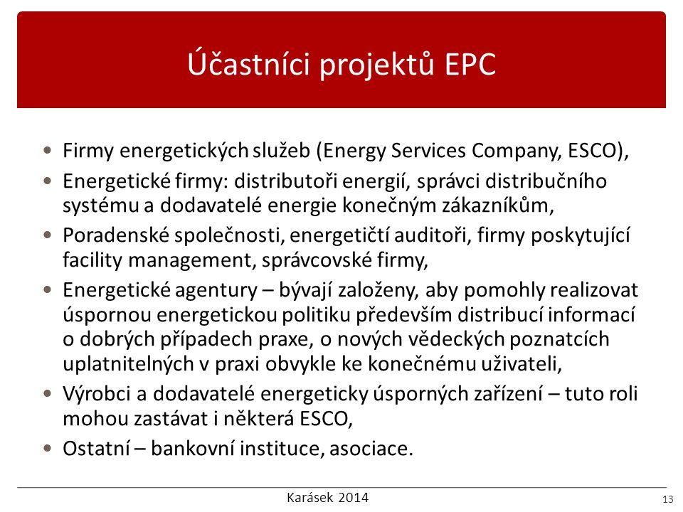Karásek 2014 Účastníci projektů EPC 13 Firmy energetických služeb (Energy Services Company, ESCO), Energetické firmy: distributoři energií, správci di