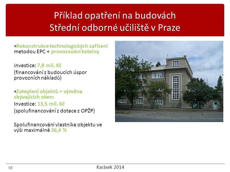 Karásek 2014 Příklad opatření na budovách Střední odborné učiliště v Praze Rekonstrukce technologických zařízení metodou EPC + provozování kotelny inv