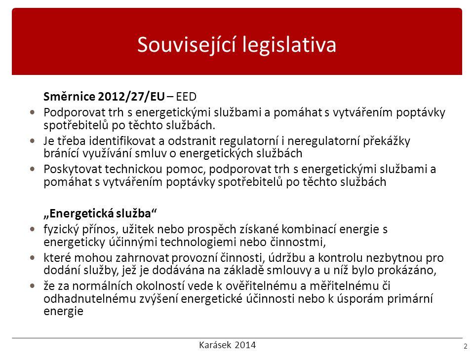 Karásek 2014 Související legislativa 3 2010/31/EU EPBD 2 Energetická služba součást finančních nástrojů Poskytování vhodných a inovačních prostředků financování s cílem podnítit investice do opatření v oblasti energetické účinnosti.