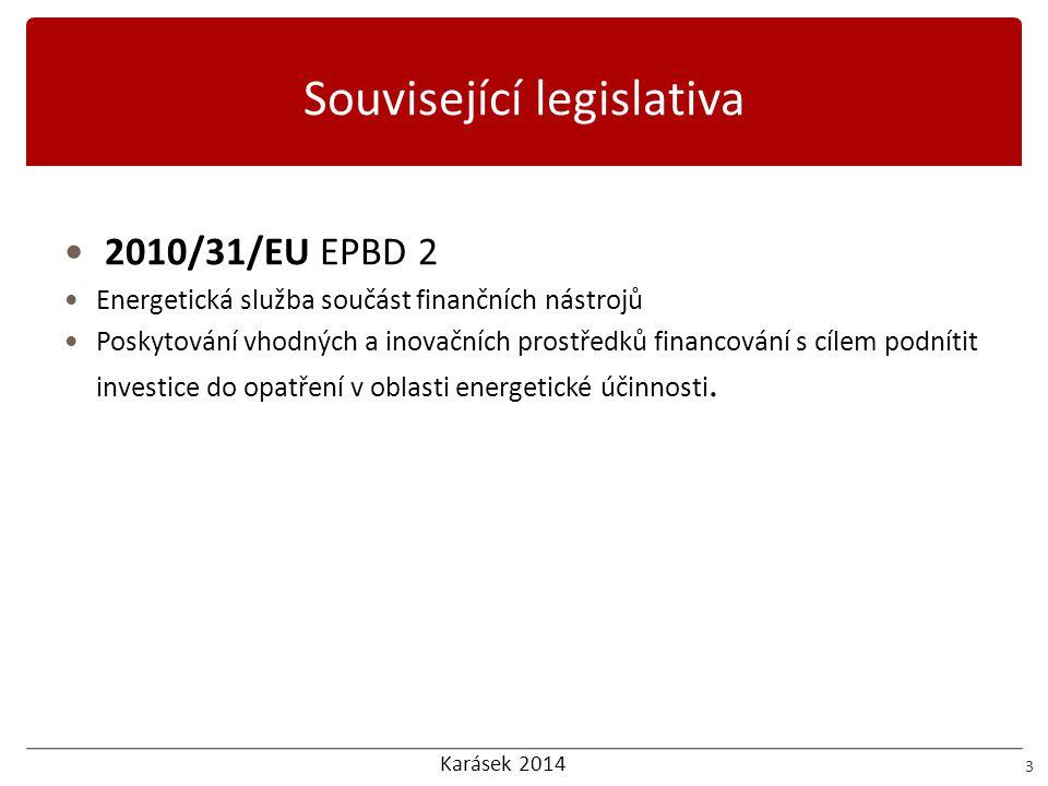 Karásek 2014 Související legislativa 3 2010/31/EU EPBD 2 Energetická služba součást finančních nástrojů Poskytování vhodných a inovačních prostředků f