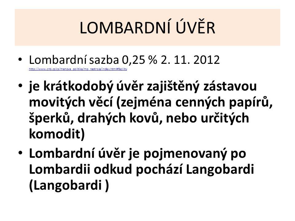 LOMBARDNÍ ÚVĚR Lombardní sazba 0,25 % 2. 11.