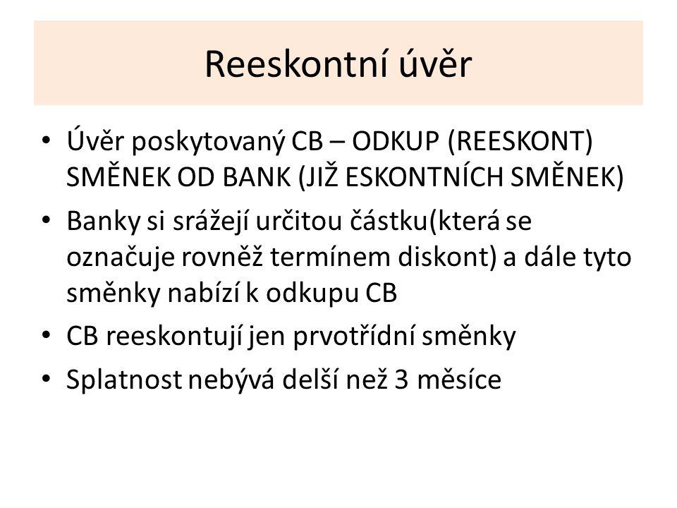 Reeskontní úvěr Úvěr poskytovaný CB – ODKUP (REESKONT) SMĚNEK OD BANK (JIŽ ESKONTNÍCH SMĚNEK) Banky si srážejí určitou částku(která se označuje rovněž termínem diskont) a dále tyto směnky nabízí k odkupu CB CB reeskontují jen prvotřídní směnky Splatnost nebývá delší než 3 měsíce