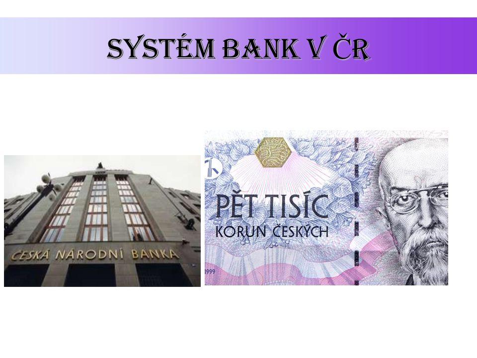 Dvouúrov Ň ový systém V roce 1990 vzniká v ČR dvouúrovňový bankovní systém: centrální banka ČNB - státní instituce, nepodnikatelský subjekt obchodní banky – podnikatelské subjekty klient ČNB banka klient banka klient