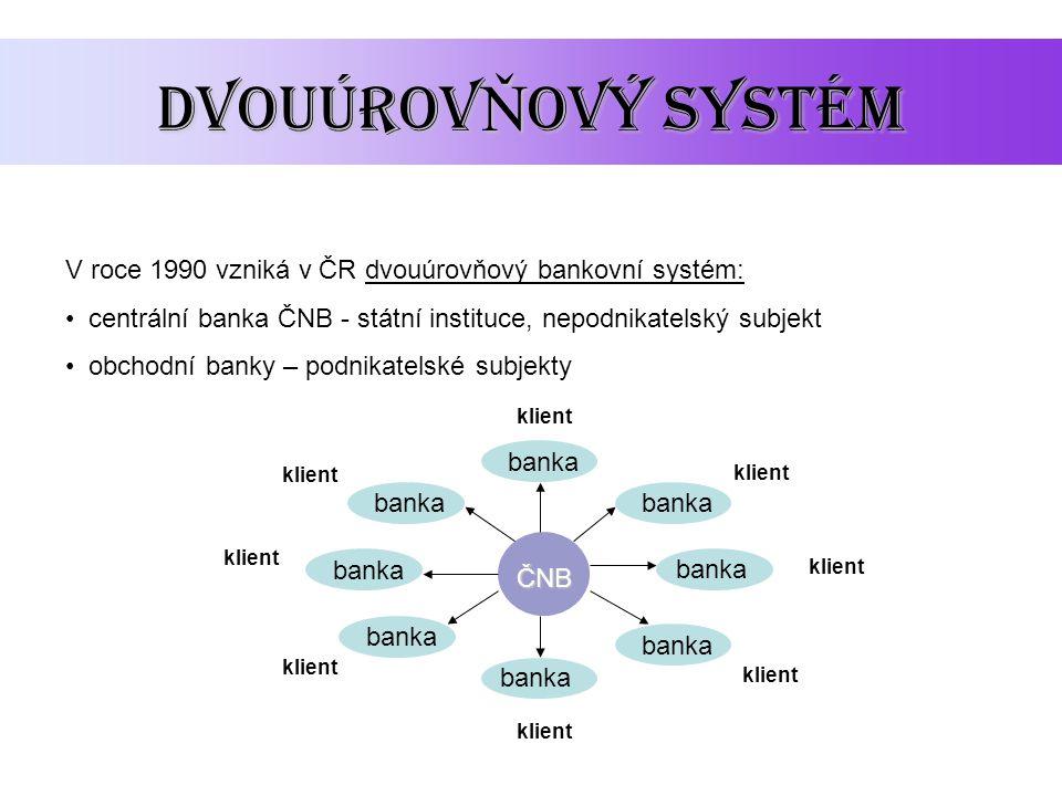 Dvouúrov Ň ový systém V roce 1990 vzniká v ČR dvouúrovňový bankovní systém: centrální banka ČNB - státní instituce, nepodnikatelský subjekt obchodní b