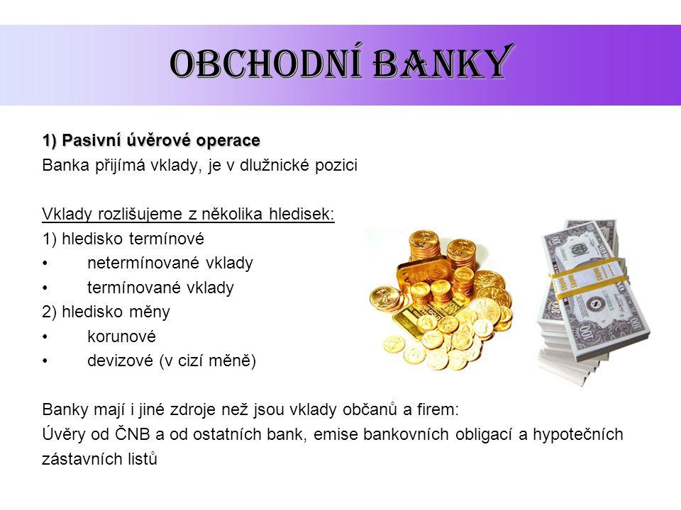 obchodní banky 1) Pasivní úvěrové operace Banka přijímá vklady, je v dlužnické pozici Vklady rozlišujeme z několika hledisek: 1) hledisko termínové ne