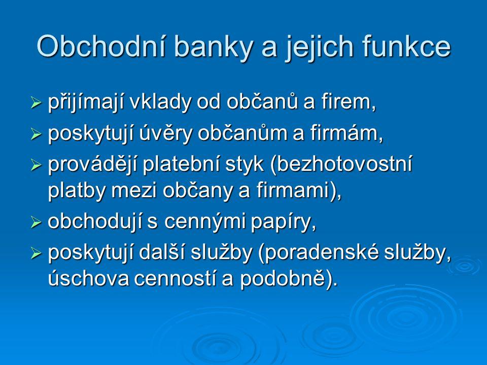 Obchodní banky a jejich funkce  přijímají vklady od občanů a firem,  poskytují úvěry občanům a firmám,  provádějí platební styk (bezhotovostní plat