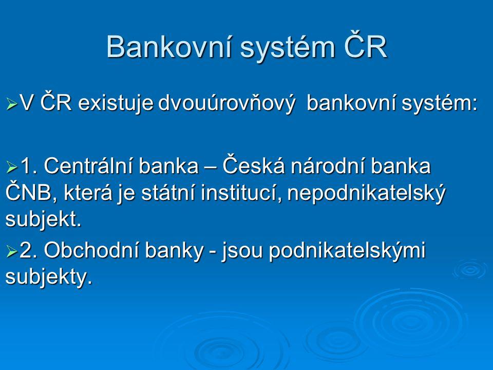 Bankovní systém ČR  V ČR existuje dvouúrovňový bankovní systém:  1. Centrální banka – Česká národní banka ČNB, která je státní institucí, nepodnikat
