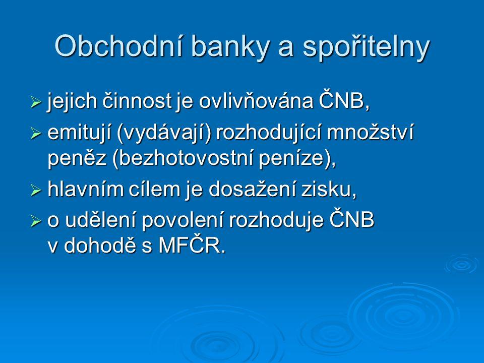 Obchodní banky a spořitelny  jejich činnost je ovlivňována ČNB,  emitují (vydávají) rozhodující množství peněz (bezhotovostní peníze),  hlavním cíl