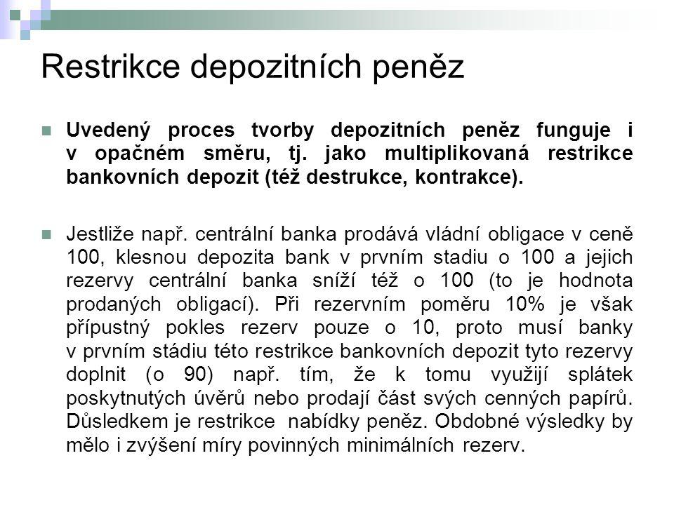 Restrikce depozitních peněz Uvedený proces tvorby depozitních peněz funguje i v opačném směru, tj.