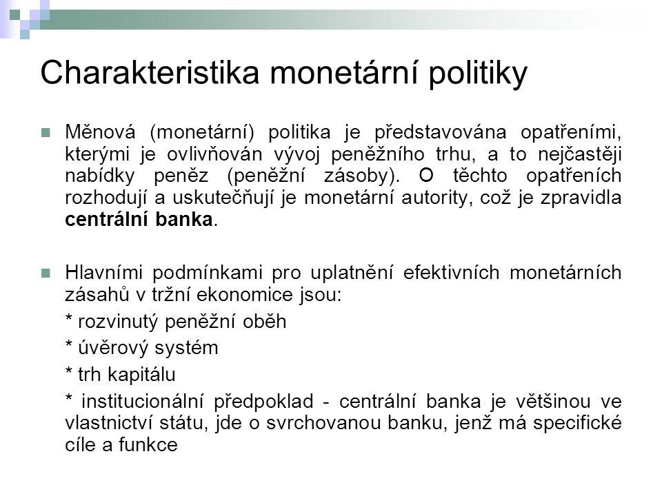 Charakteristika monetární politiky Měnová (monetární) politika je představována opatřeními, kterými je ovlivňován vývoj peněžního trhu, a to nejčastěji nabídky peněz (peněžní zásoby).