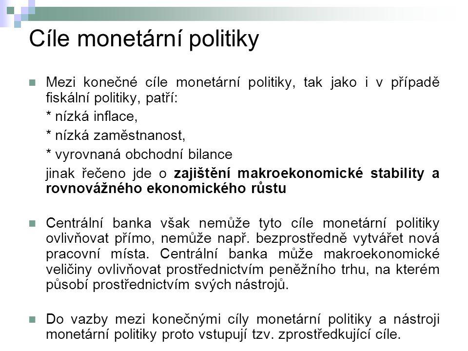 Cíle monetární politiky Mezi konečné cíle monetární politiky, tak jako i v případě fiskální politiky, patří: * nízká inflace, * nízká zaměstnanost, * vyrovnaná obchodní bilance jinak řečeno jde o zajištění makroekonomické stability a rovnovážného ekonomického růstu Centrální banka však nemůže tyto cíle monetární politiky ovlivňovat přímo, nemůže např.