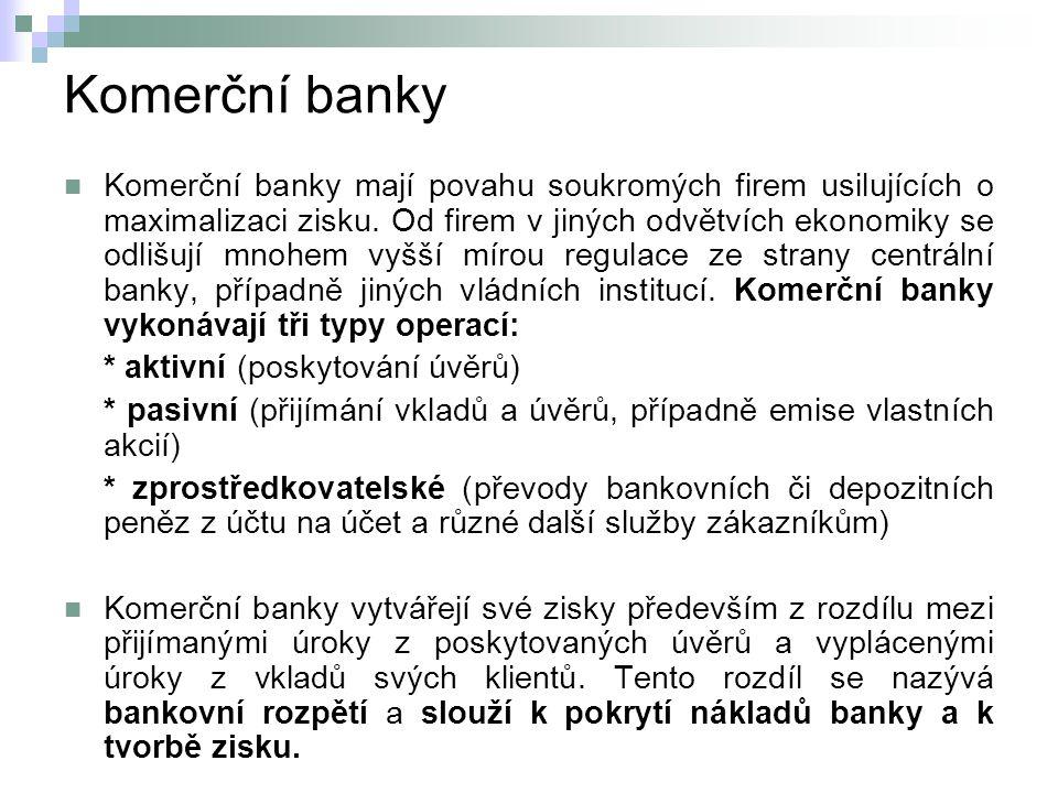 Komerční banky Komerční banky mají povahu soukromých firem usilujících o maximalizaci zisku.