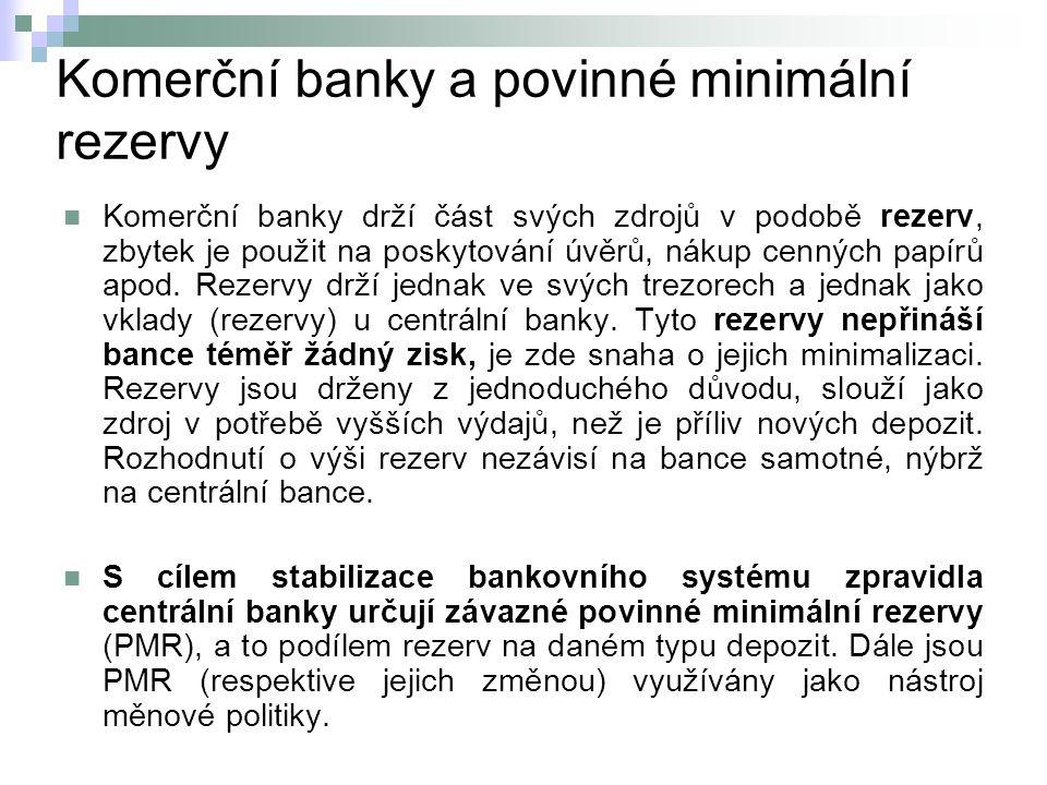 Komerční banky a povinné minimální rezervy Komerční banky drží část svých zdrojů v podobě rezerv, zbytek je použit na poskytování úvěrů, nákup cenných papírů apod.