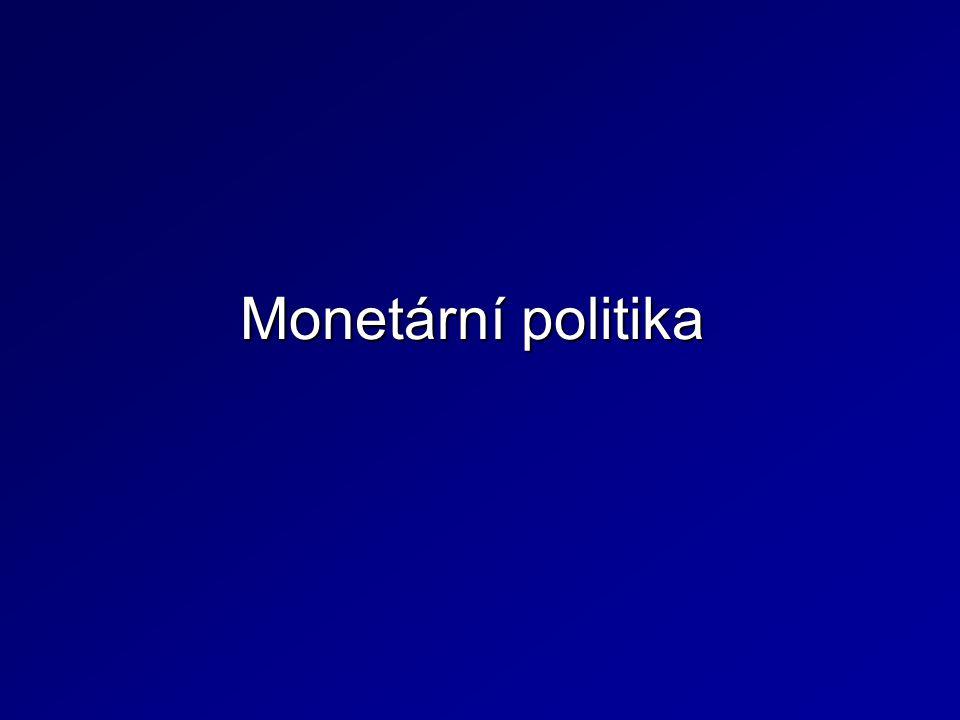 Regulace PMR – CB stanovuje povinný podíl minimálních rezerv z primárních vkladů u bank –  PMR  odčerpání peněz z ekonomiky  restriktivní MP Vkladatel (domácnost) Banka A ČNB: Povinné minimální rezervy = 5 % 1 000 000 50 000 Banka B 950 000 Podnik 902 500 47 500 Nástroje monetární politiky - nepřímé