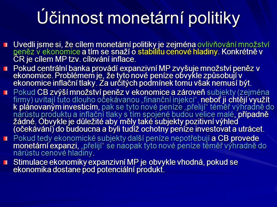 Účinnost monetární politiky Uvedli jsme si, že cílem monetární politiky je zejména ovlivňování množství peněz v ekonomice a tím se snaží o stabilitu c