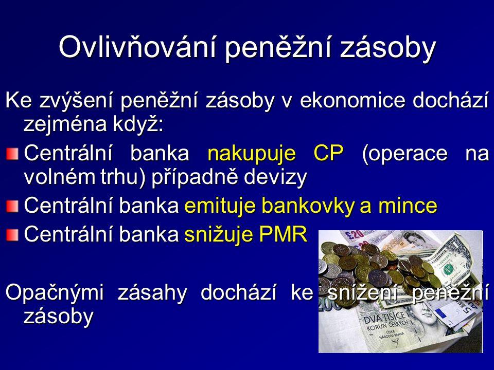 Ovlivňování peněžní zásoby Ke zvýšení peněžní zásoby v ekonomice dochází zejména když: Centrální banka nakupuje CP (operace na volném trhu) případně d