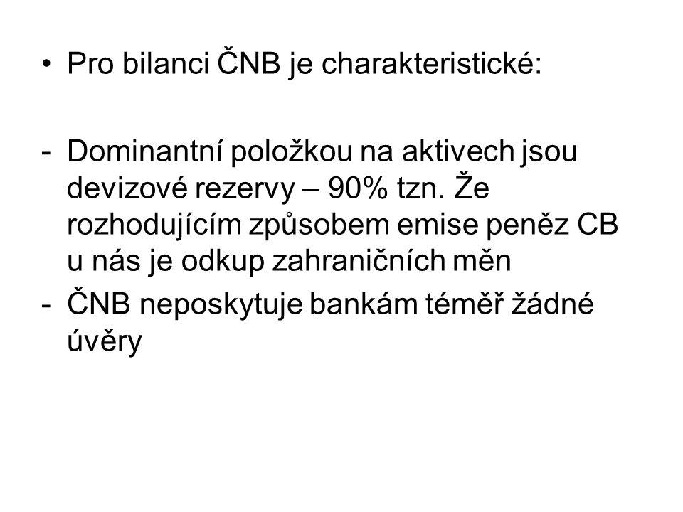 Pro bilanci ČNB je charakteristické: -Dominantní položkou na aktivech jsou devizové rezervy – 90% tzn.