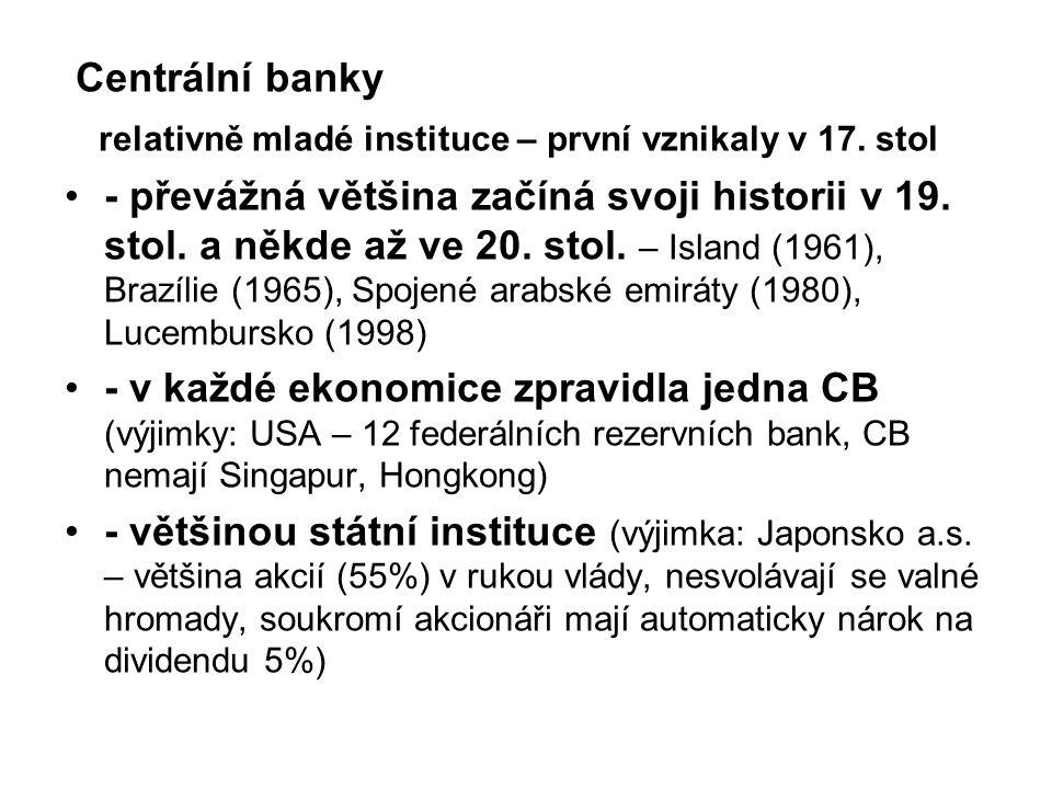 Centrální banky relativně mladé instituce – první vznikaly v 17.