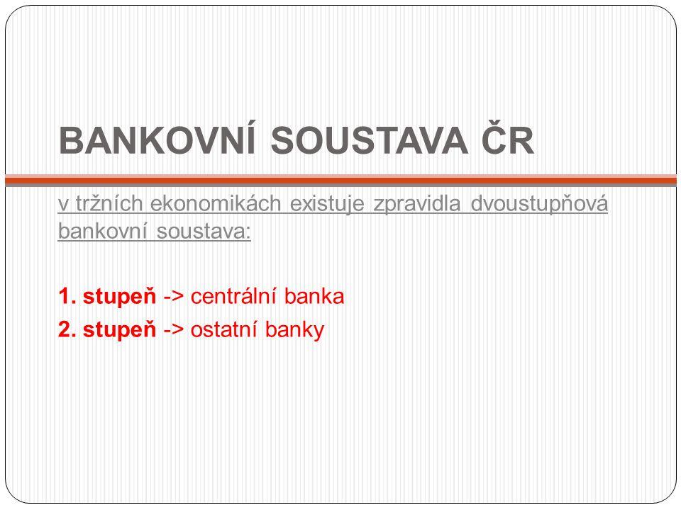 BANKOVNÍ SOUSTAVA ČR v tržních ekonomikách existuje zpravidla dvoustupňová bankovní soustava: 1. stupeň -> centrální banka 2. stupeň -> ostatní banky