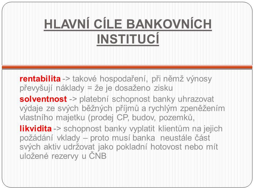 HLAVNÍ CÍLE BANKOVNÍCH INSTITUCÍ rentabilita -> takové hospodaření, při němž výnosy převyšují náklady = že je dosaženo zisku solventnost -> platební s