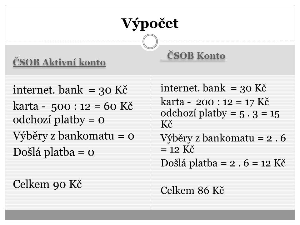 ČSOB Aktivní konto ČSOB Konto internet. bank = 30 Kč karta - 500 : 12 = 60 Kč odchozí platby = 0 Výběry z bankomatu = 0 Došlá platba = 0 Celkem 90 Kč