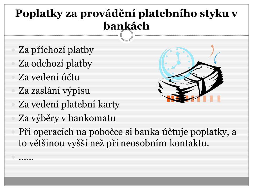 Poplatky za provádění platebního styku v bankách Za příchozí platby Za odchozí platby Za vedení účtu Za zaslání výpisu Za vedení platební karty Za výb