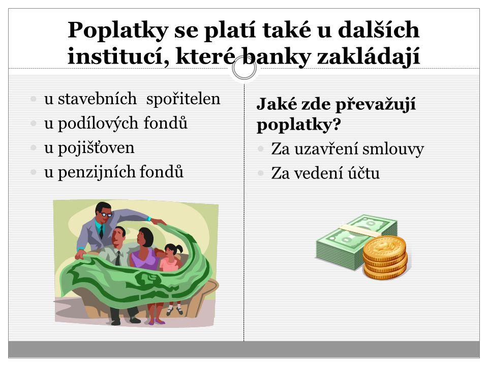 Poplatky se platí také u dalších institucí, které banky zakládají u stavebních spořitelen u podílových fondů u pojišťoven u penzijních fondů Jaké zde