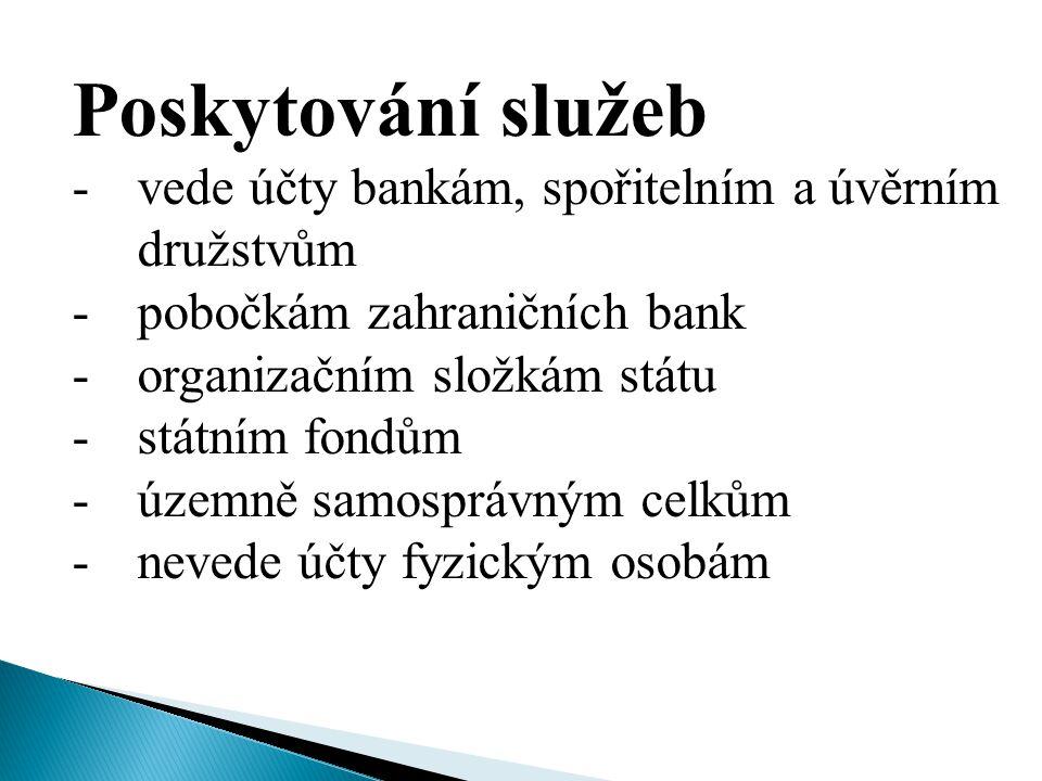 Poskytování služeb -vede účty bankám, spořitelním a úvěrním družstvům -pobočkám zahraničních bank -organizačním složkám státu -státním fondům -územně samosprávným celkům -nevede účty fyzickým osobám