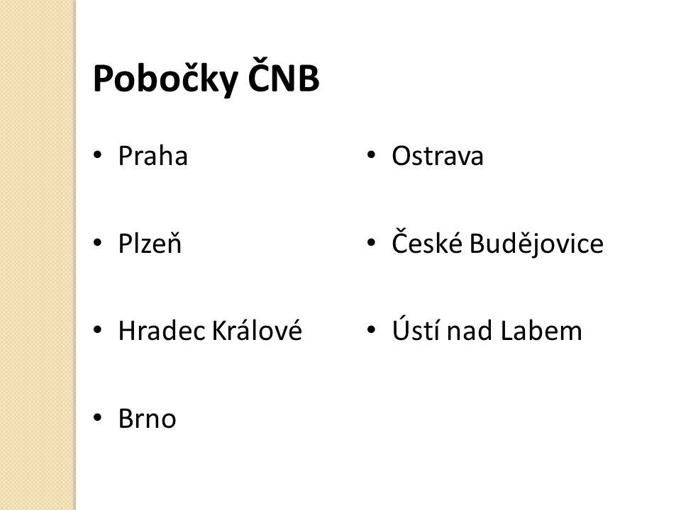 Pobočky ČNB Praha Plzeň Hradec Králové Brno Ostrava České Budějovice Ústí nad Labem
