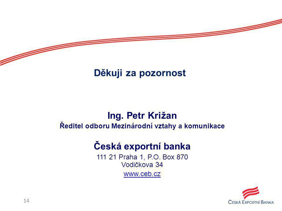 Ing. Petr Križan Ředitel odboru Mezinárodní vztahy a komunikace Česká exportní banka 111 21 Praha 1, P.O. Box 870 Vodičkova 34 www.ceb.cz Děkuji za po