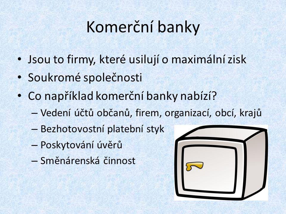 Vysvětleme si nyní některé pojmy spojené s komerčními bankami.
