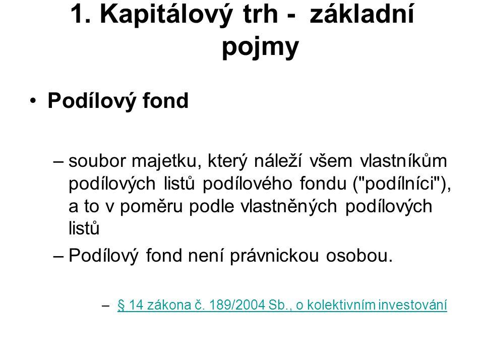 1. Kapitálový trh - základní pojmy Podílový fond –soubor majetku, který náleží všem vlastníkům podílových listů podílového fondu (