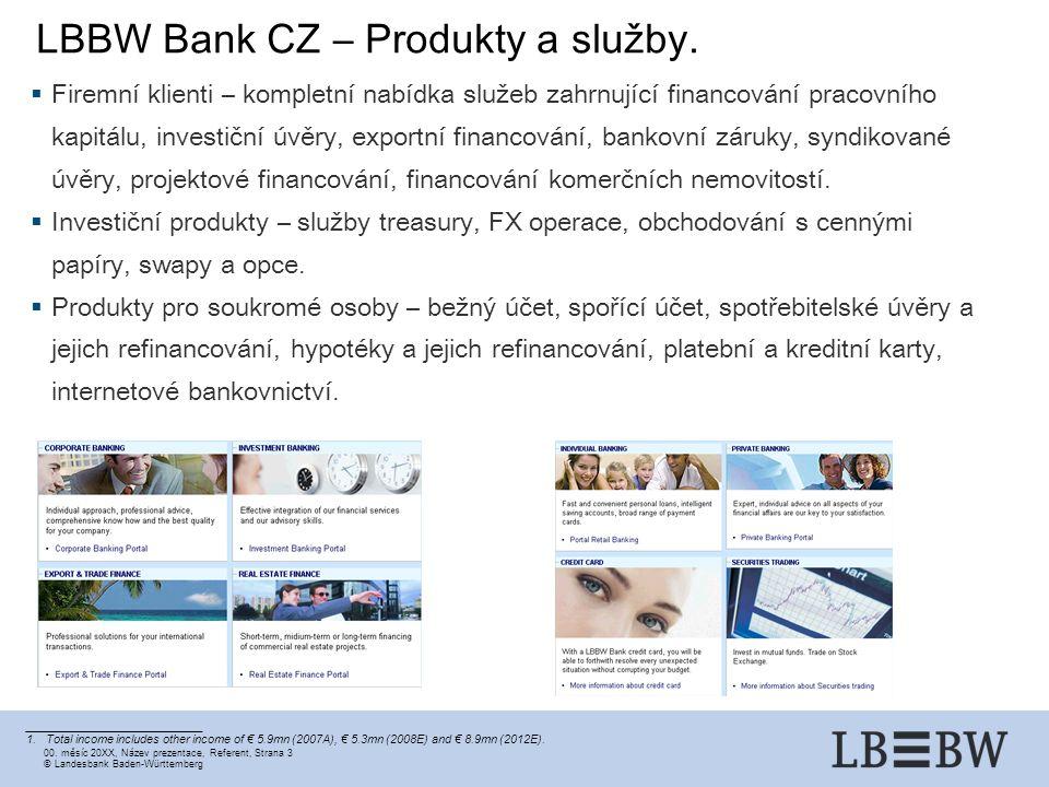 00. měsíc 20XX, Název prezentace, Referent, Strana 3 ©Landesbank Baden-Württemberg LBBW Bank CZ – Produkty a služby. ___________________________ 1.Tot
